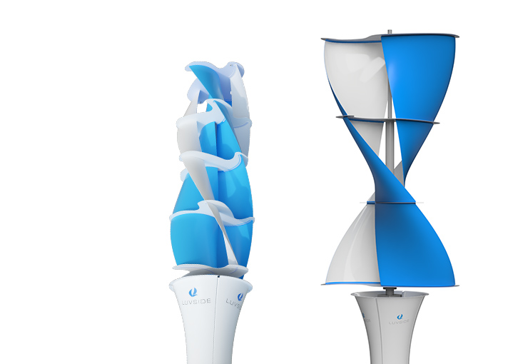 LuvSide's small-scale Savonius wind turbines.