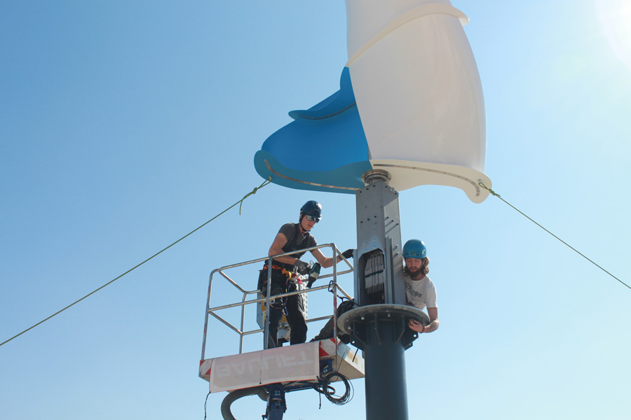LuvSide Team installing our vertical axis wind turbine - might be your next job in wind energy?